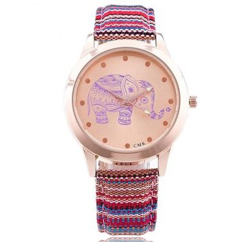 Elephant Casual Watch Rose Gold Braid Leather