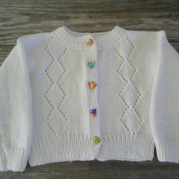 Chirping Birds Button Down Girls Sweater, Hand Knitted Cardigan, White Knit Top