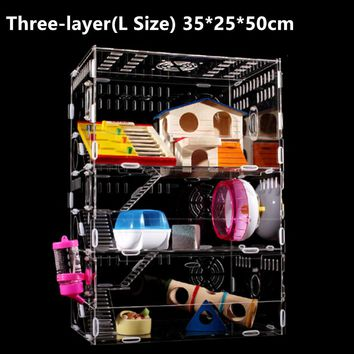 Hot Acrylic Hamster Cage Clear View 2 Layer Mouse Pet Luxury Large Big Transparent House Villa Sets & Multifarious Accessories