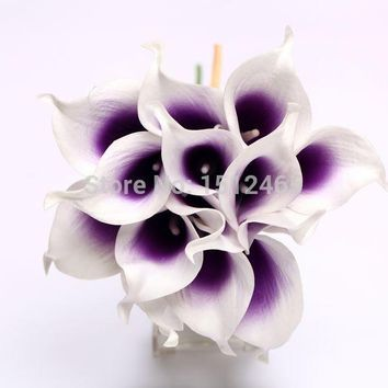 56pcs/lot Aritifical white&purple center Latex Real touch Calla Lily flower bouquets Wedding Bridal Favors JH04-56