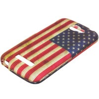 USA Flag 2D Hard Rubberized Design Case Cover for Alcatel One Touch Fierce 2 7040T