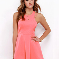 Sleeveless Halter Strappy Cutout  Back A-Line Mini Skater Dress