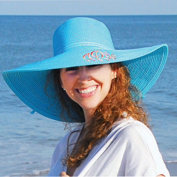 Ladies Monogrammed Floppy Hat, Beach Hat, Sun Hat, Derby Hat