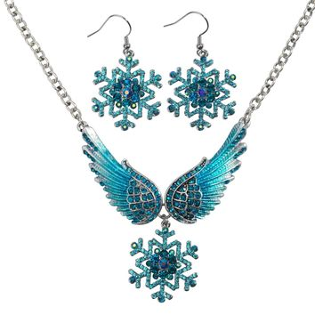 Snowflake Wing Necklace Earrings Sets Blue White Christmas Holidays Ornaments Gifts for Women Girls Crystal Fashion Jewelry