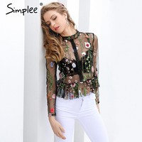 Simplee Black flower embroidery blouse shirt Women tops blouse chemise femme camisa Transparent long sleeve summer  blusas