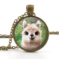 Cute llama Pendant - Necklace - Picture Pendant Funny Looking Animal Art with Chain and Gift Bag - Picture Jewelry