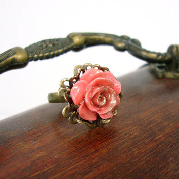 Bronzed Pink Coral Flower Ring - Resin Rose Ring - Antiqued Brass Vintage Style Victorian Pink Coral Jewelry - Neo Victorian Flower Ring