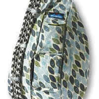 KAVU Rope Bag Shoulder Sling, Blue Leaf, 20 X 11-Inch