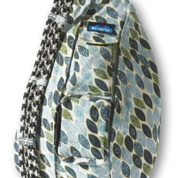 Kavu Rope Bag Shoulder Sling Blue Leaf 20 X 11 Inch