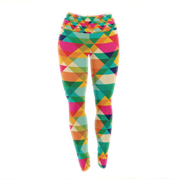 Rainbow Geometry Pattern Custom Yoga Exercise Leggings