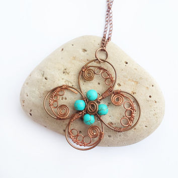 Copper wire flower pendant - Flower pendant Copper wire pendant Turquoise necklace Turquoise jewelry Wire wrap necklace Unique gift for her