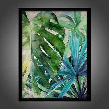 Tropical leaf Scandinavian small fresh modern European interior painting No Frame Only Canvas