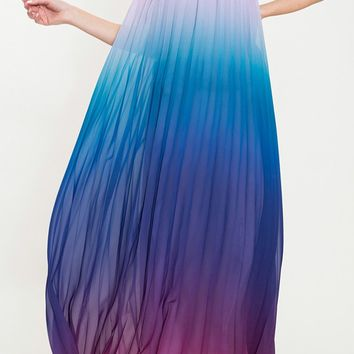 Rainbow Connection Blue Accordion Pleat Sleeveless Halter Maxi Dress (Pre-Order)