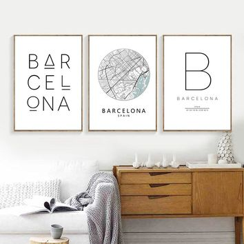 Barcelona Print City Map Poster , Barcelona Typography Modern Wall Art Canvas Painting Print Spanish Scandi Nordic Home Decor