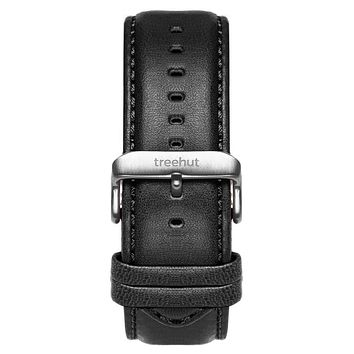 22mm Black Padded Leather Band