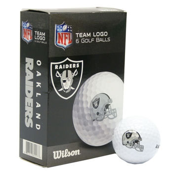 Oakland Raiders White Golf Balls Pack of 6