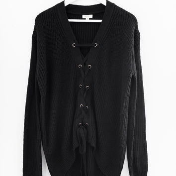 Front Lace Up Sweater - Black