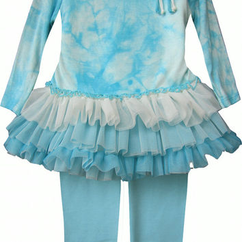 Isobella & Chloe Aria Sky Blue and White 2 piece Tunic Tulle Set