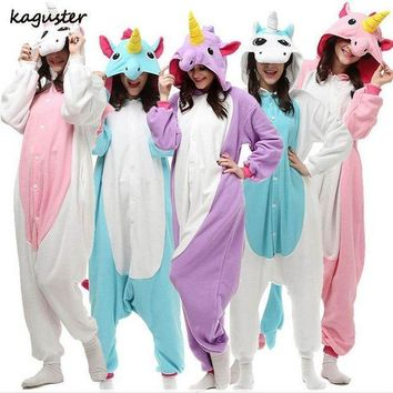 ac PEAPO2Q Unicorn Pajama Sets Kigurumi Christmas Costume Cosplay Party Adult Kids Animal Onesuit Winter Nighte Sleepwear For Women