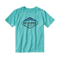 Patagonia Boys' Fitz Roy Crest Cotton/Poly T-Shirt | Narwhal Grey
