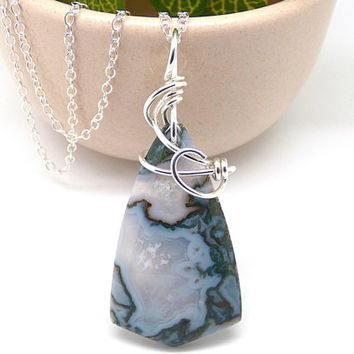 Moss Agate Necklace, Natural Stone Pendant, Sterling Silver Stone Jewelry, Green Agate Necklace, Silver Wire Wrapped, Natural Rock Necklace