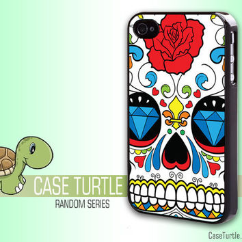 Sugar Skull  Iphone case dia de los muertos Mexican  Iphone 4 case awesome and cool food iphone case (RS017)