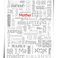 Mother in Many Languages Typography Art Print for Mothers Day
