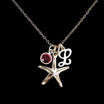 Sterling Silver Starfish and Script Initial Necklace with choice of Swarovski Crystal Birthstone by Tickle Bug Jewelry!