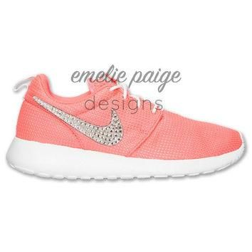 Girls' Nike Roshe Run (Peach) running shoes with Swarovski Crystals
