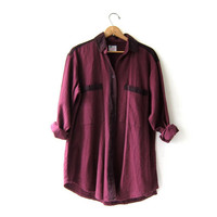 vintage cotton shirt. button down shirt. oversized wine colored shirt. minimalist modern.