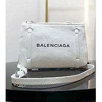 BALENCIAGA Popular Women Leather Satchel Tote Handbag Zipper Purse Wallet White I-AGG-CZDL