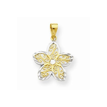 10k Two Tone Gold Filigree Flower Pendant