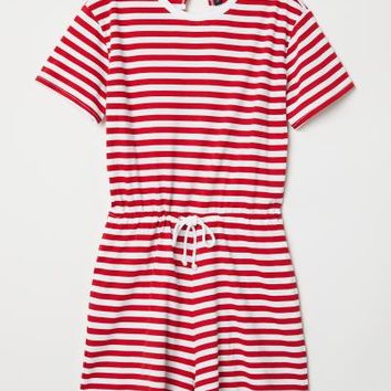 Striped Jumpsuit - Red/white striped - Ladies | H&M US