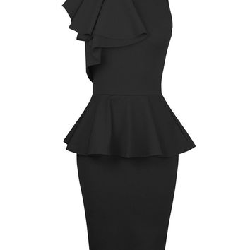 Black Sleeveless Ruffled Shoulder Peplum Bodycon Midi Dress