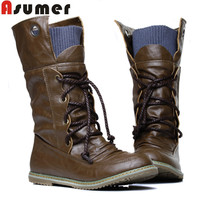 ASUMER 2016 Plus Size Vintage motorcycle ankle boots for women winter autumn snow boots leather flats motorcycle boots shoes
