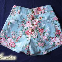 """High Waist Shorts Floral Shorts Blue with Pink Floral Inspired Shabby Chic Shorts - -Size S-M- 12""""SHORT LENGTH"""