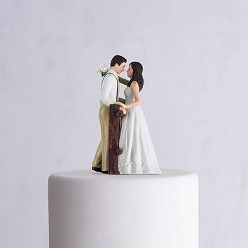 Rustic Couple Porcelain Figurine Wedding Cake Topper White Dress (Pack of 1)