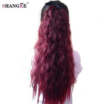 SHANGKE Hair 22'' Long Curly Ponytail Wine Red Pony Tail For  Women  Heat Resistant Synthetic Ponytail Fake Hair Pieces