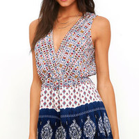 Hills and Valleys Navy Blue Print Romper