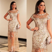 Luxury Sparkly Sequins Crystals Short Sleeve Prom Dresses 2016 Sexy See Through Cheap Champagne Formal Party Dress Gala WH161