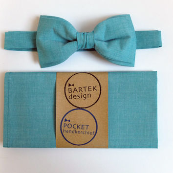 Men's Wedding Set Pre Tied Bow Tie and Pocket Handkerchief by BartekDesign: tiffany blue celadon teal aquamarine