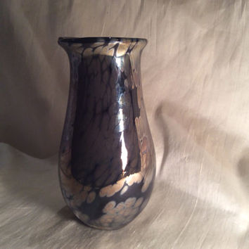 Hand Blown Glass Art Vase -Metallic Bronze Over Black.  Blown Glass Vase with Metallic Finish.