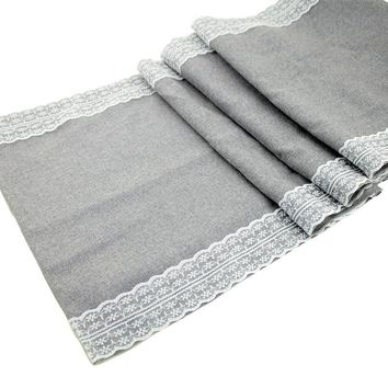 1pcs Gray Lace Table Runner Natural Jute Burlap Imitated Linen Table cloth Party Rustic Wedding Decor Home Textile 30x275cm