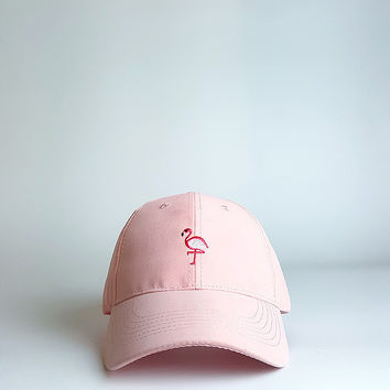 Pink Flamingo Embroidered Baseball hat Hat