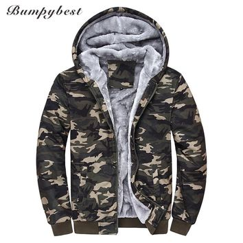 Men Hooded winter Jackets Printed Hood male Camouflage Coat Sports Wear Velvet Zipper Hoodies Men Sweatshirts