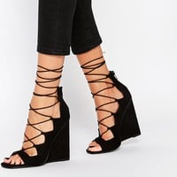 ASOS HOMEGIRL Lace Up Wedges