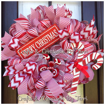 Christmas Wreath - Candy Cane Wreath - Merry Christmas Wreath - Red & White Wreath - Whimsical - Deco Mesh Wreath - Door Decor - Ready To Go