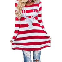 Feitong Fashion Autumn Women Striped Dress Casual Round Collar Christmas Elk Long Sleeve Party Mini Dress vestidos femininos