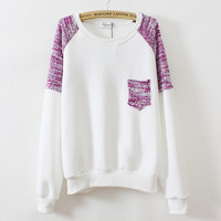 Pure color round neck pocket sweater