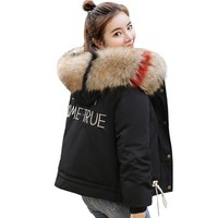 Trendy With Fur Hooded Winter Jacket Women Cotton Padded 2018 New Fashion Short Coat Coats Parka Breasted Buttons Casaco Feminino AT_94_13